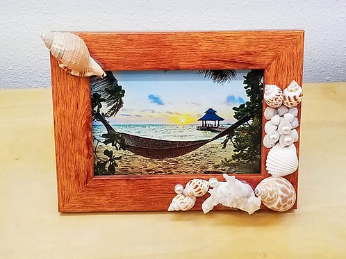 "Seashell Picture Frame 4x6"" Wood"