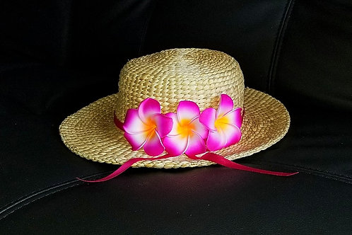 Water Hyacinth Hat with 3 Purple Plumeria Flowers w/ Ribbon