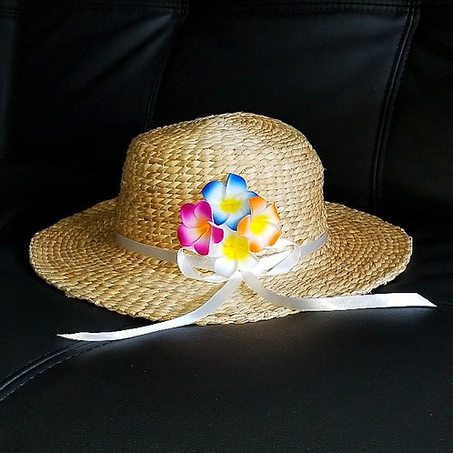 Water Hyacinth Hat with 4 Mixed Plumeria Flowers w/ Ribbon