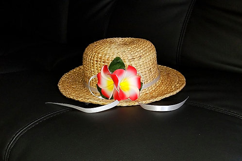 Water Hyacinth Hat with 2 Red Plumeria Flowers w/ Ribbon