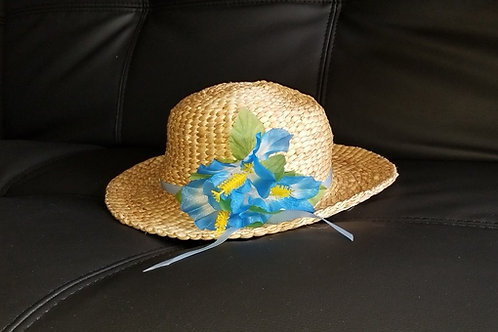Water Hyacinth Hat with 3 Blue Hibiscus Flowers and Ribbon