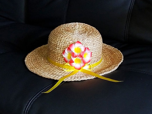 Water Hyacinth Hat with 4 Red Plumeria Flowers w/ Ribbon