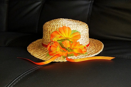 Water Hyacinth Hat with 3 Orange Hibiscus Flowers and Ribbon