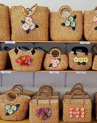 Handmade Water Hyacinth Hats with Aloha Flowers from Hawaii
