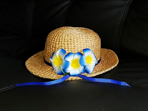 Water Hyacinth Hat with 3 Blue Plumeria Flowers w/ Ribbon