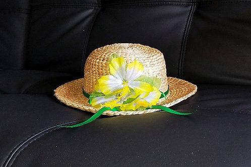 Water Hyacinth Hat with 3 Yellow Hibiscus Flowers and Ribbon