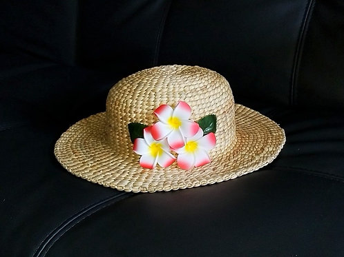 Water Hyacinth Hat with T3 Red Plumeria Flowers