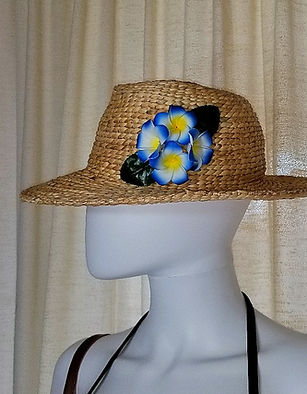 Handmade Water Hyacinth Hats with Aloha Flowers from Hawaii