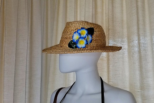 Water Hyacinth Hat with 4 Blue Plumeria Flowers
