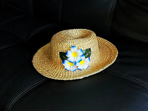 Water Hyacinth Hat with T3 Blue Plumeria Flowers