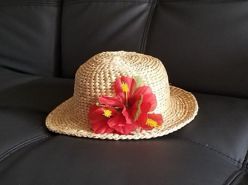Water Hyacinth Hat with Red Hibiscus Flowers
