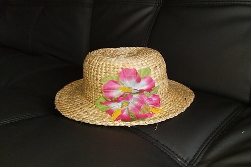 Water Hyacinth Hat with Pink Hibiscus Flowers