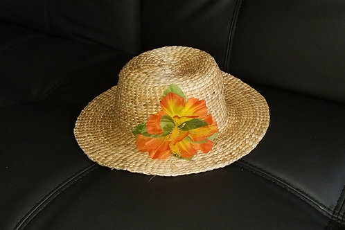Water Hyacinth Hat with Orange Hibiscus Flowers