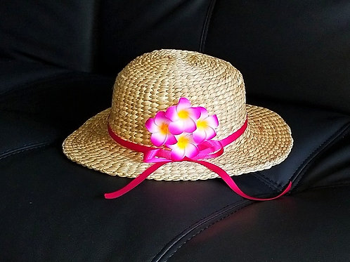 Water Hyacinth Hat with 4 Pink Plumeria Flowers w/ Ribbon