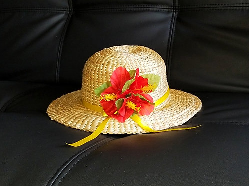 Water Hyacinth Hat with 3 Red Hibiscus Flowers and Ribbon