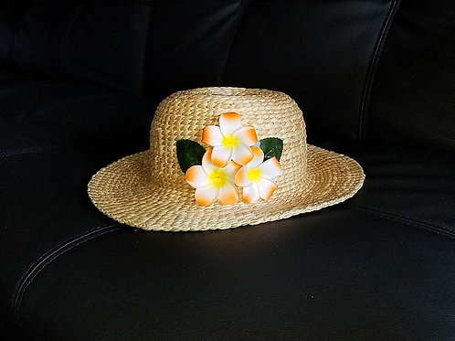 Water Hyacinth Hat with T3 Orange Plumeria Flowers