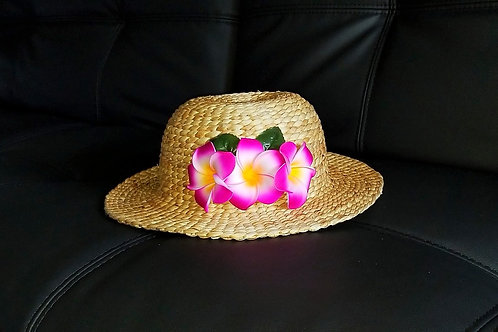 Water Hyacinth Hat with D3 Purple Plumeria Flowers
