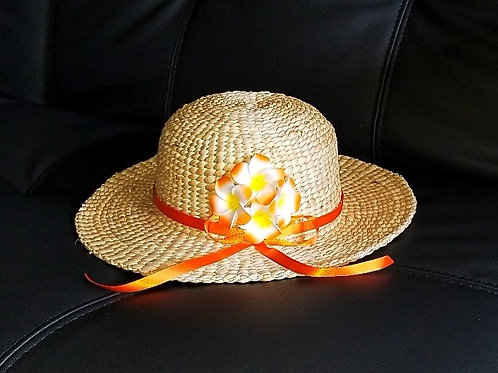 Water Hyacinth Hat with 4 Orange Plumeria Flowers w/ Ribbon