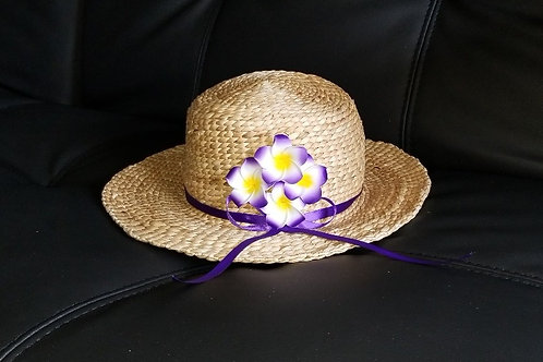 Water Hyacinth Hat with 4 Purple Plumeria Flowers & Ribbon
