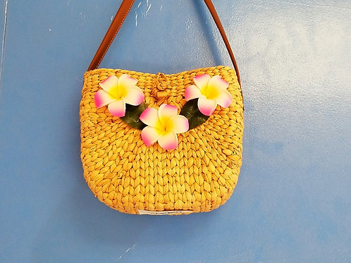 Water Hyacinth Cross Strap Bag w/ Zipper
