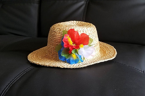 Water Hyacinth Hat with Mixed Hibiscus Flowers