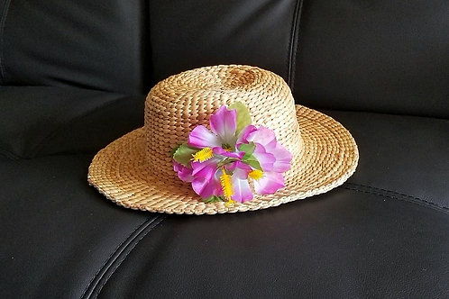Water Hyacinth Hat with Purple Hibiscus Flowers