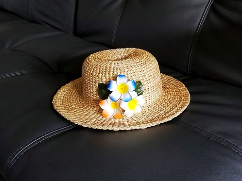 Water Hyacinth Hat with T3 Mixed Plumeria Flowers