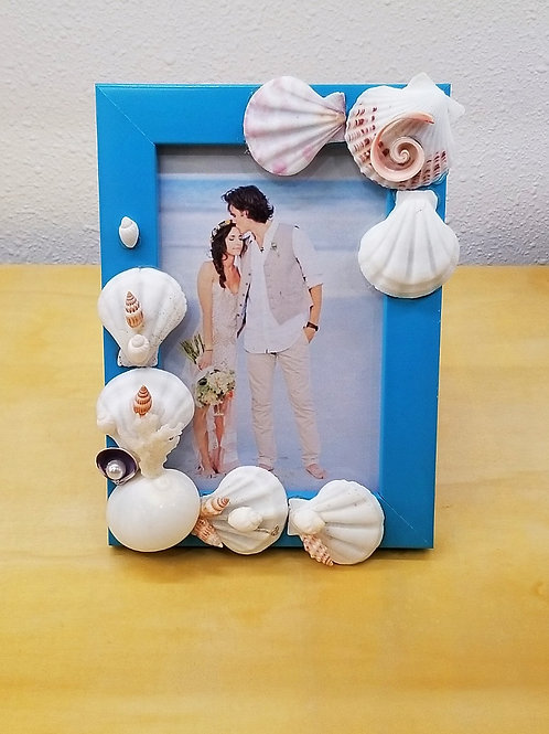 """Seashell Picture Frame 4x6"""" Blue"""