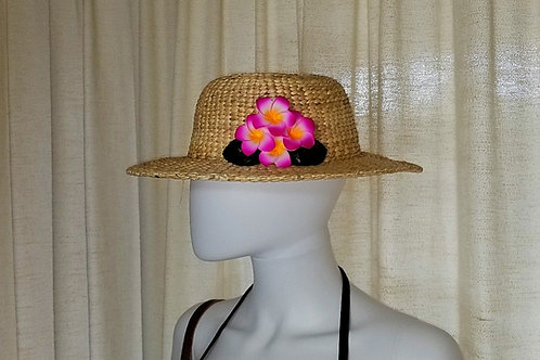 Water Hyacinth Hat with 4 Pink Plumeria Flowers