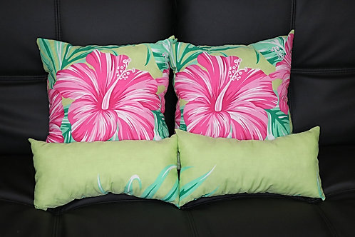 Green w/ Pink & Red Hibiscus (4 pc set) P06