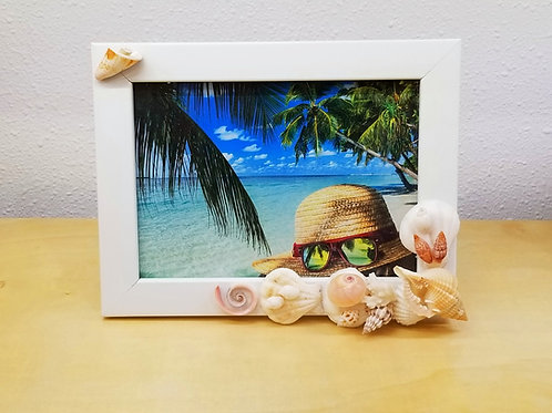 "Seashell Picture Frame 5x7"" White KA18"