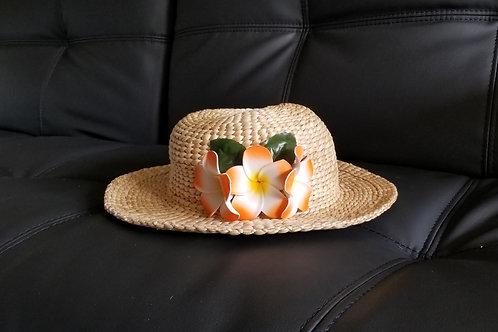 Water Hyacinth Hat with D3 Orange Plumeria Flowers