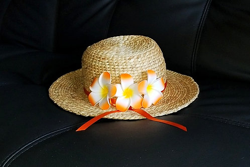 Water Hyacinth Hat with 3 Orange Plumeria Flowers w/ Ribbon