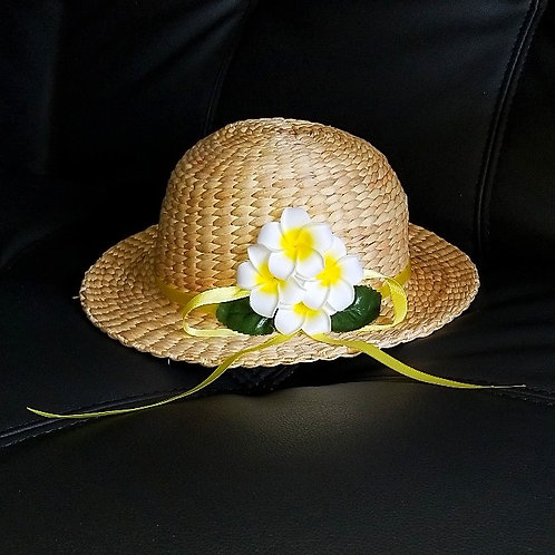 Water Hyacinth Hat with 4 White Plumeria Flowers w/ Ribbon