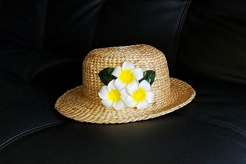 Water Hyacinth Hat with T3 White Plumeria Flowers