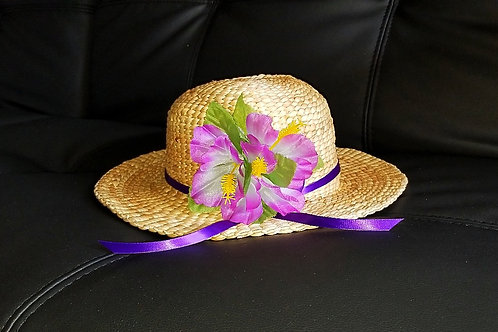 Water Hyacinth Hat with 3 Purple Hibiscus Flowers and Ribbon
