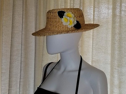 Water Hyacinth Hat with 4 White Plumeria Flowers