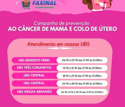 FAXINAL - Prefeitura inicia atividades da campanha Outubro Rosa
