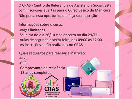 Curso Básico de Manicure oferecido pelo CRAS de Novo Itacolomi