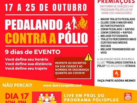 """Rotary Club de Borrazópolis através do Distrito 4630 promove """"Pedalando Contra Pólio"""""""