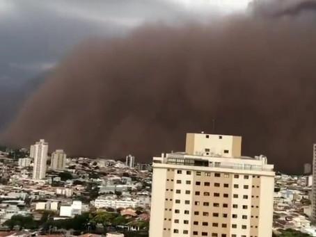 Tempestade de poeira atinge Catanduva, no interior paulista