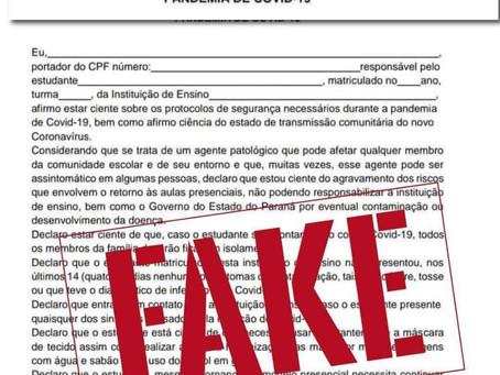 Educação alerta sobre documento falso circulando nas redes