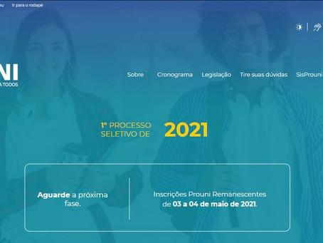 Prouni abre inscrições para vagas remanescentes do 1º semestre de 2021