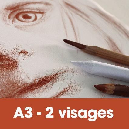 Portrait sanguine 30 x 40 cm (ou A3)* 2 visages