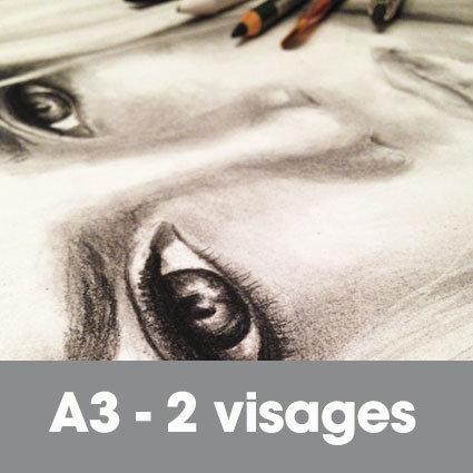 Portrait fusain 30 x 40 cm (ou A3)* 2 visages