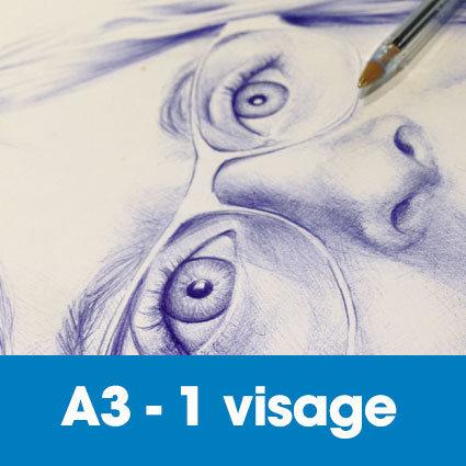 Portrait stylo bille 30 x 40 cm (ou A3)* -1 visage