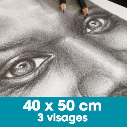 Portrait mine graphite 40 x 50 cm -3 visages