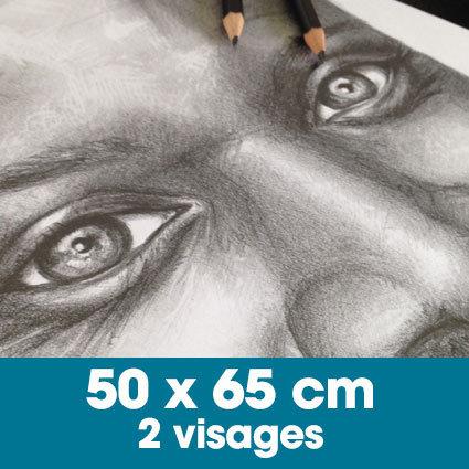 Portrait mine graphite 50 x 65 cm - 2 visages