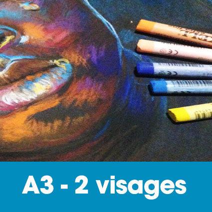 Portrait aux pastels secs 30 x 40 cm • 2 visages