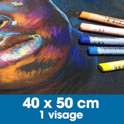 Portrait aux pastels secs 40 x 50 cm • 1 visage